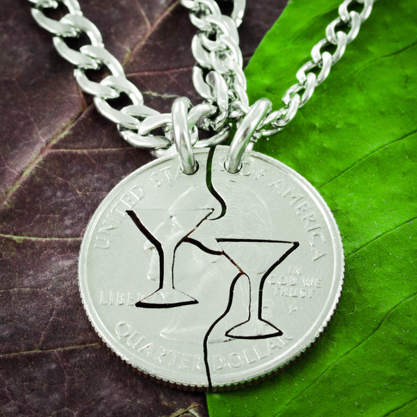 Martini Glass Couples Necklaces, Interlocking hand cut coin