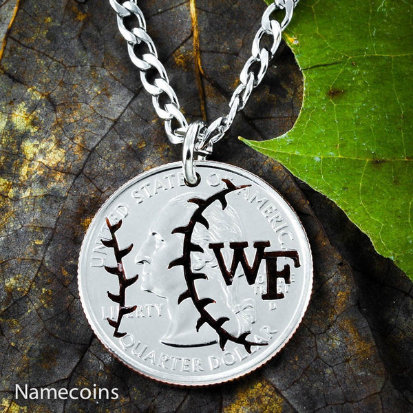 Mens And Womens Sports Necklaces - Baseball Jewelry, Custom Initials Coin Necklace
