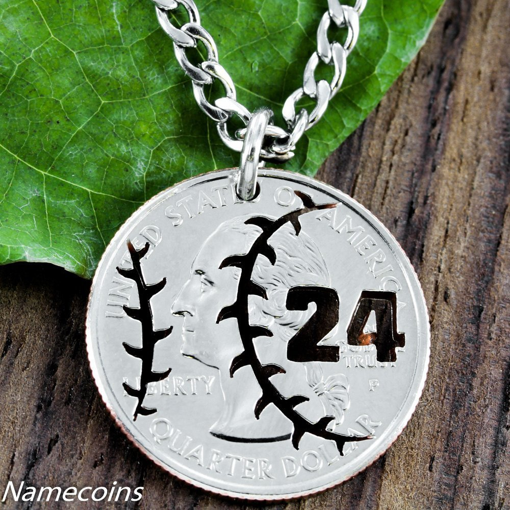 Baseball necklace jersey number jewelry hand cut coin namecoins mens and womens sports necklaces baseball jewelry jersey number necklace hand cut coin aloadofball Image collections