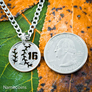 Mens And Womens Sports Necklaces - Baseball Jewelry, Jersey Number Necklace, Hand Cut Coin