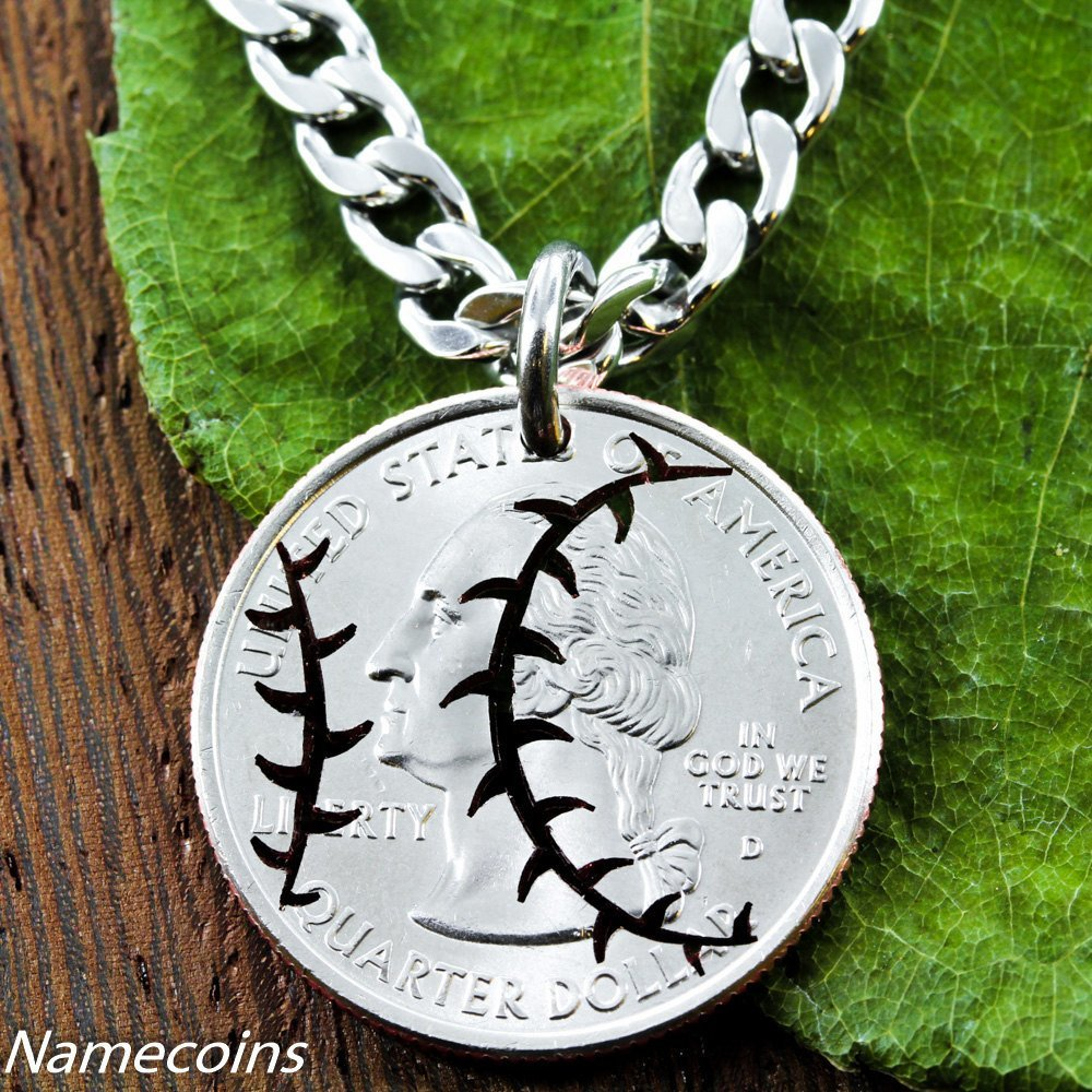Mens And Womens Sports Necklaces - Baseball Necklace, Sports Jewelry, Hand Cut Coin
