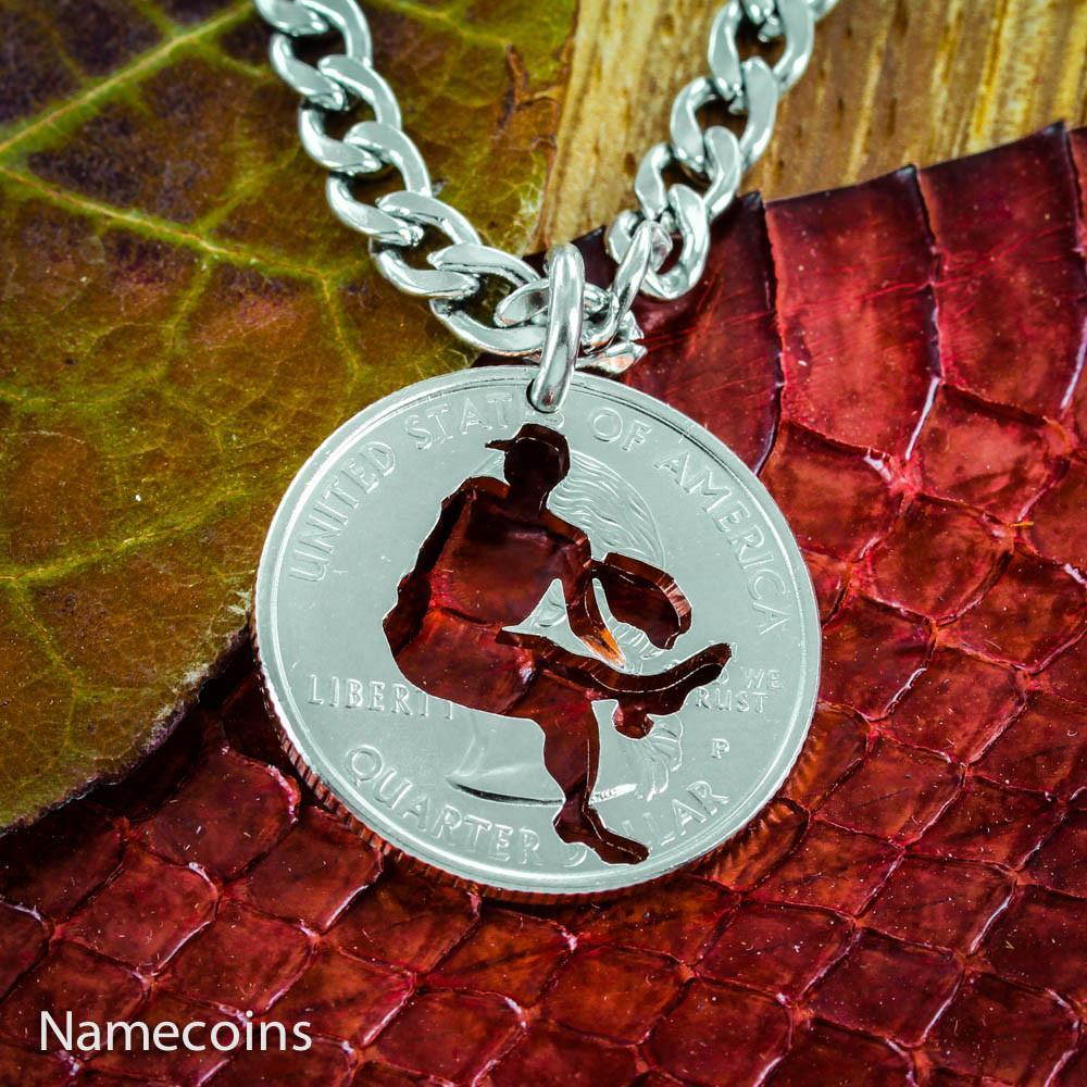 Mens And Womens Sports Necklaces - Baseball Pitcher Necklace, Choose Your Quarter