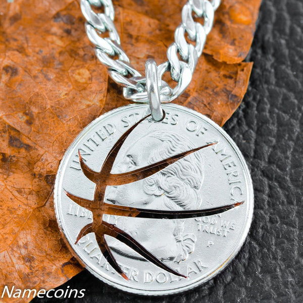 Mens And Womens Sports Necklaces - Basketball Necklace, Cut Coin, Quarter, Sports Jewelry