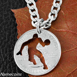 Mens And Womens Sports Necklaces - Basketball Player Necklace, Hand Cut Coin Jewelry
