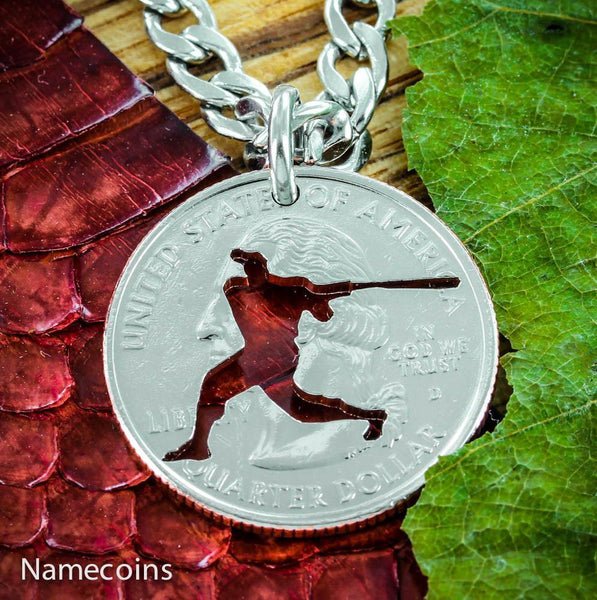 Mens And Womens Sports Necklaces - Boys Baseball Batter Necklace, Summer Baseball Hand Cut Coin Jewelry