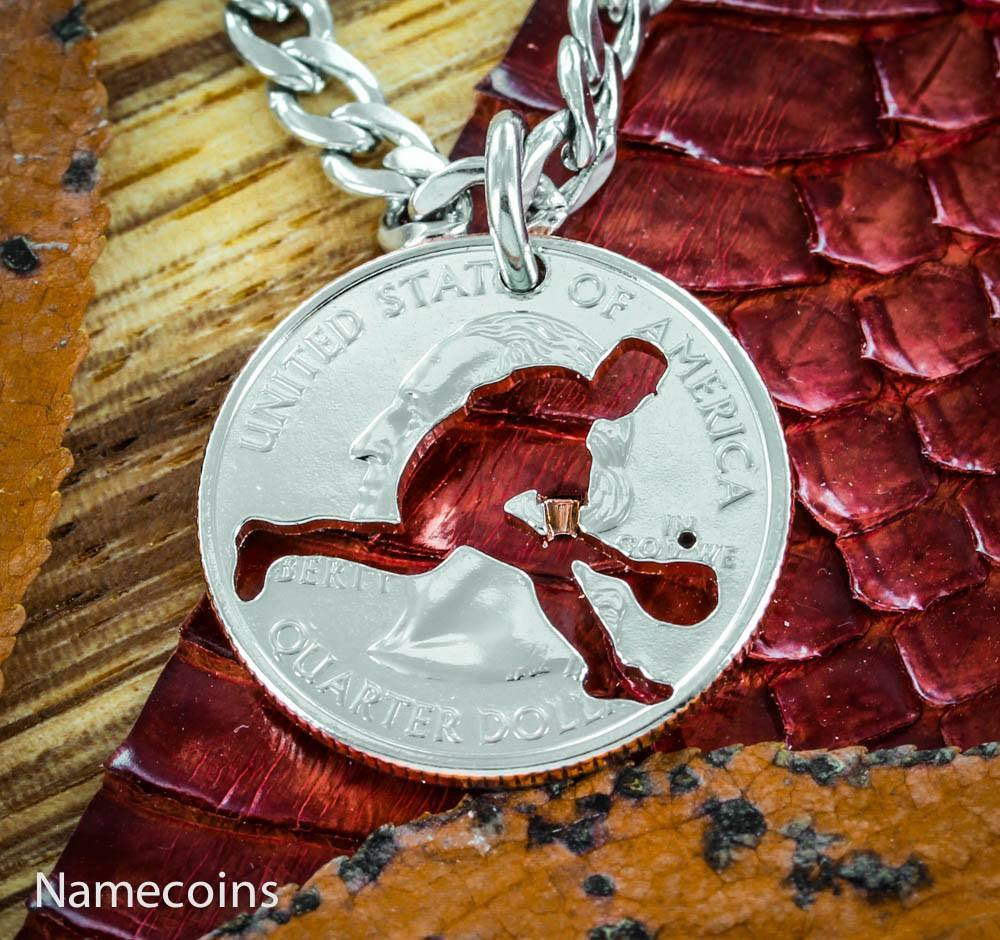 Mens And Womens Sports Necklaces - Boys Baseball Outfielder Necklace, Summer Baseball Hand Cut Coin Jewelry