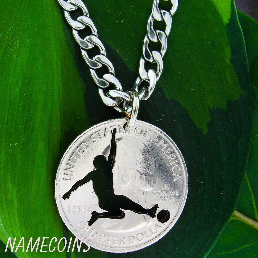 Mens And Womens Sports Necklaces - Centre-back, Sliding Kick, Hand Cut Coin