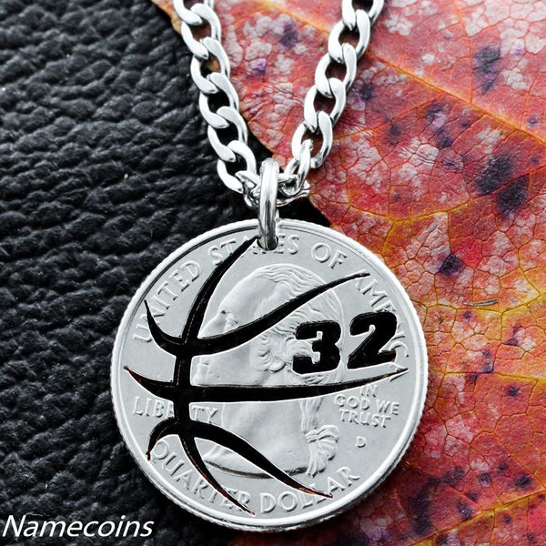 Mens And Womens Sports Necklaces - Custom Basketball Necklace With Your Jersey Number, Hand Cut Coin