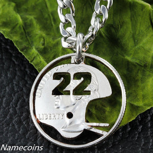 Mens And Womens Sports Necklaces - Football Helmet Necklace With Custom Jersey Numbers, Hand Cut Quarter