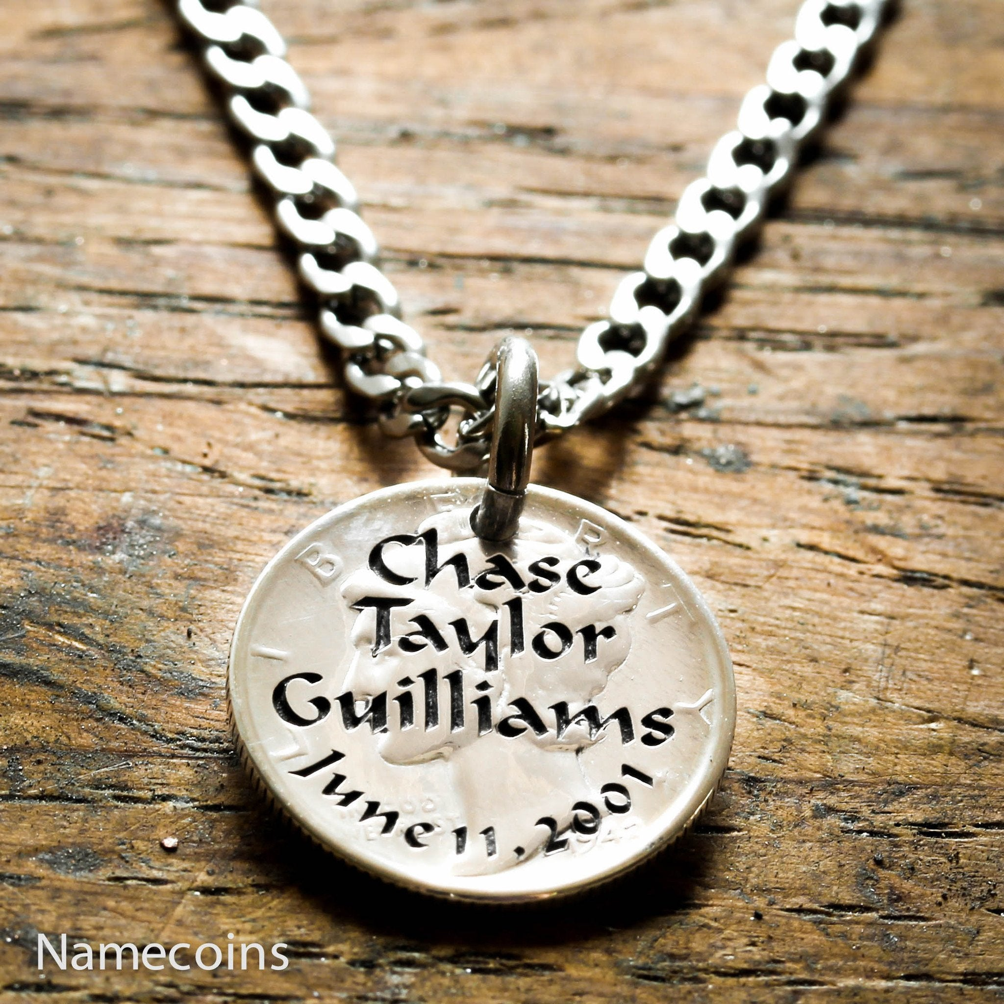 date and sports necklace jewelry penny womens funeral memorial mens necklaces name products