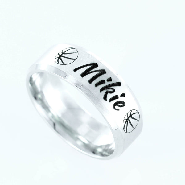 Basketball Name ring, custom engraved, Stainless Steel