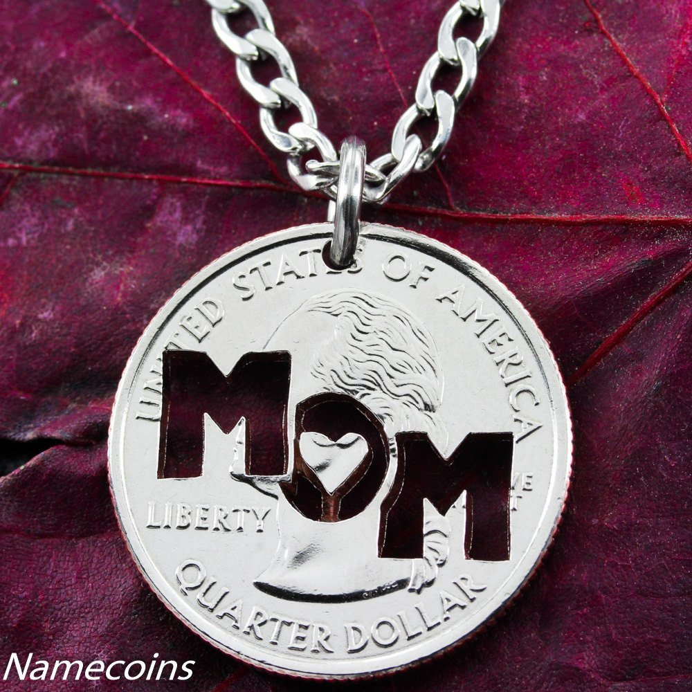 Mom necklace hand crafted cut coin jewelry namecoins for Handcrafted or hand crafted