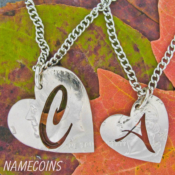 Monogram Necklace, Initial In Heart, Custom Jewelry, Hand Cut Coin