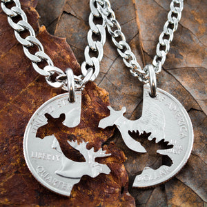Moose Couples necklaces, His and Her coin jewelry by Namecoins