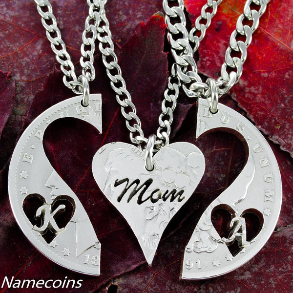 Mother's Necklace, Personalized, Handmade Jewelry In Half Dollar Or Silver Dollar