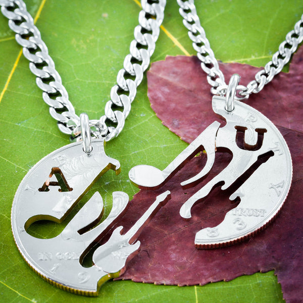 Electric Guitar and Musical Note Necklaces, Initials Necklaces, Music jewelry