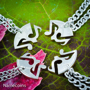 Musical Relationship Set - Best Friends 4 Piece Music Note Necklaces, Hand Cut Coin