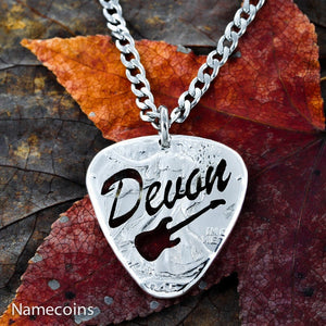 Musical Relationship Set - Custom Guitar Pick Necklace, Name Jewelry, Big Pick Hand Cut And Burnished Half Dollar