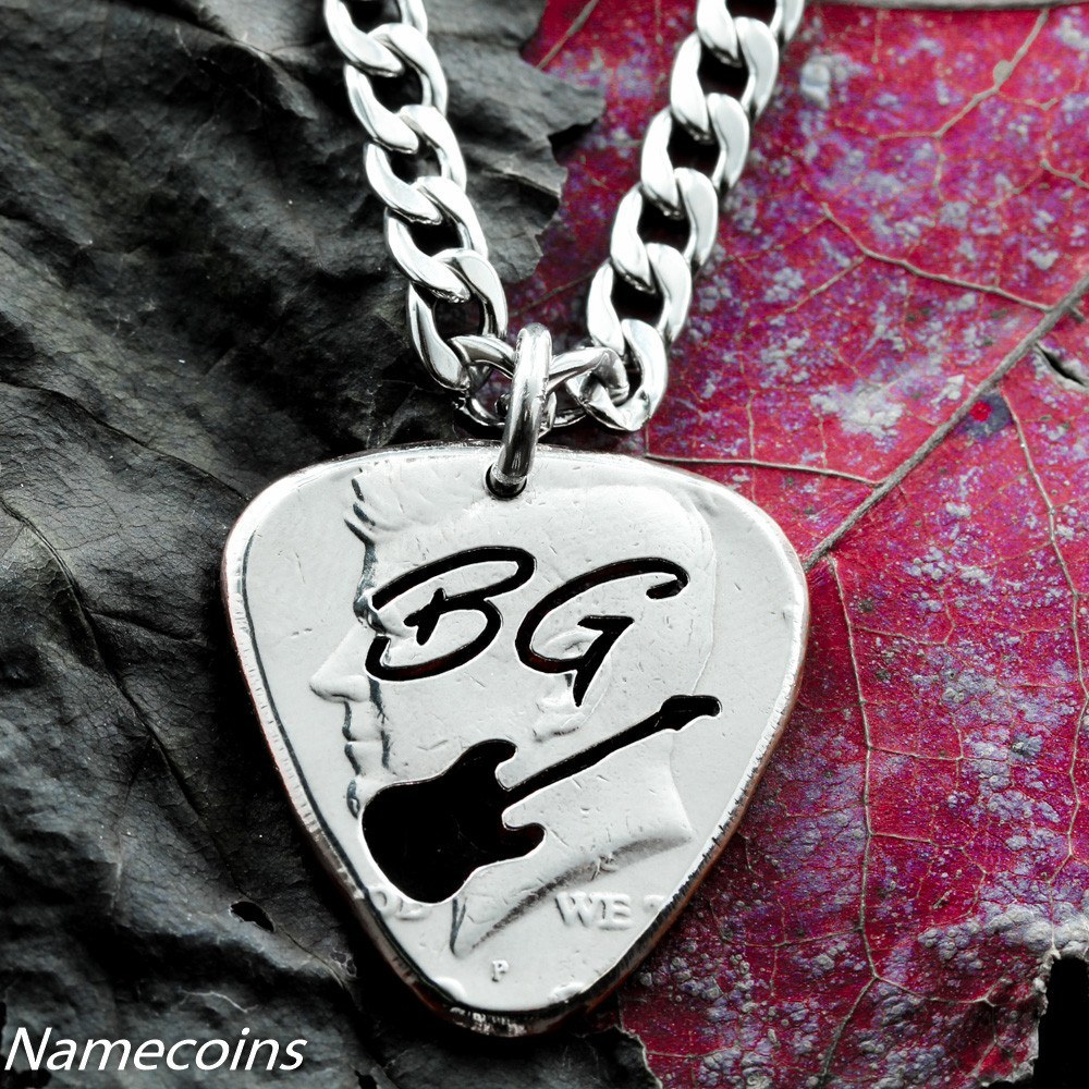 Musical Relationship Set - Custom Guitar Pick With Thin Cursive Initials Cut Half Dollar