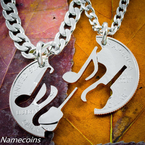 Musical Relationship Set - Guitar And Music Note Necklaces, Interlocking Instruments Hand Cut Coin