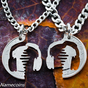 Musical Relationship Set - Sound Wave With Headphone Couples Necklace Set