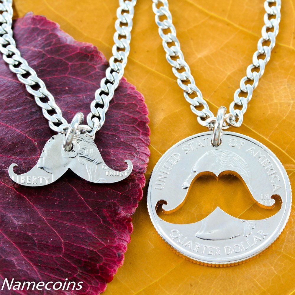 Mustache Necklace Inside And Outside Relationship Necklace Hand Cut Coin