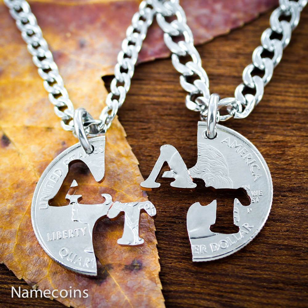 Initial Necklace Set, Personalized Couples Jewelry, Hand Cut Coin ...