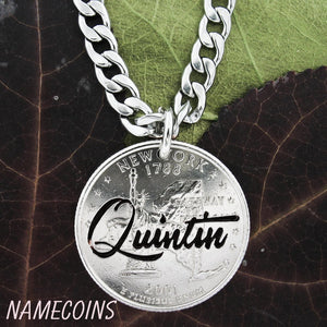 Name Necklace From NameCoins, Hand Cut On A Quarter, In Fancy Script