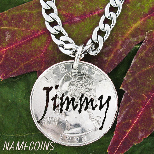 Namecoins, Scratchy Custom Name Hand Cut On Quarter Necklace Or Keychain, In Cut Up Script