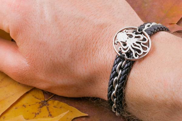 Octopus Bracelet, Kraken Leather Bracelet, Tentacle Jewelry