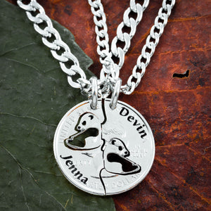 Panda gifts for him or her, panda bear jewelry with names engraved, Hand Cut Coin