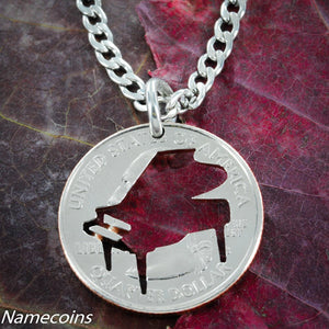 Piano Necklace Hand Cut On A Coin