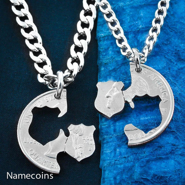Police Necklaces, Couples Badges, Hand Cut Coin