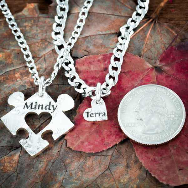 Heart necklace, Puzzle piece jewelry, Engraved names pendants