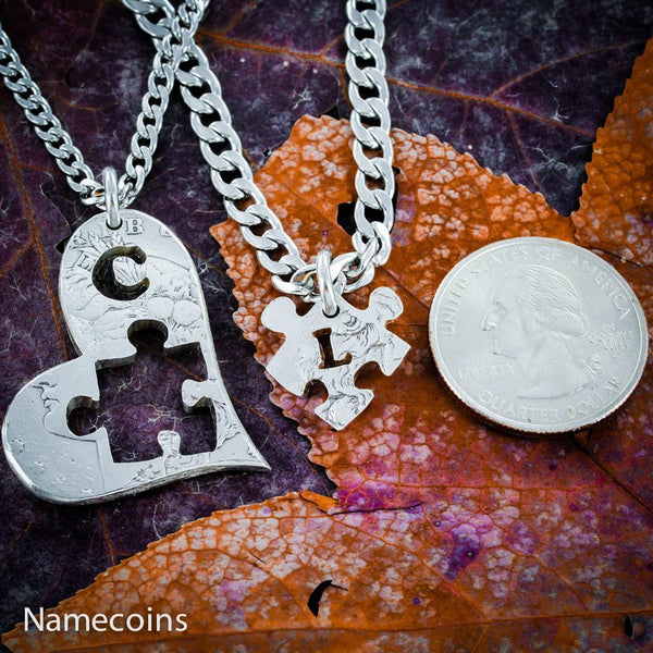 Puzzle Piece In Heart With Initials Necklace Set, Hand Cut Coin