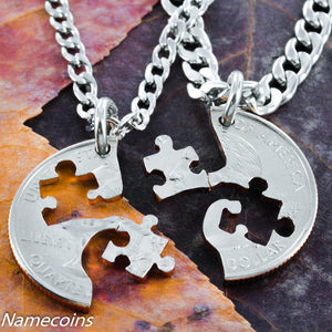 Puzzle Piece Necklace Couples Or Friendship Interlocking Love Quarter, Hand Cut Coin