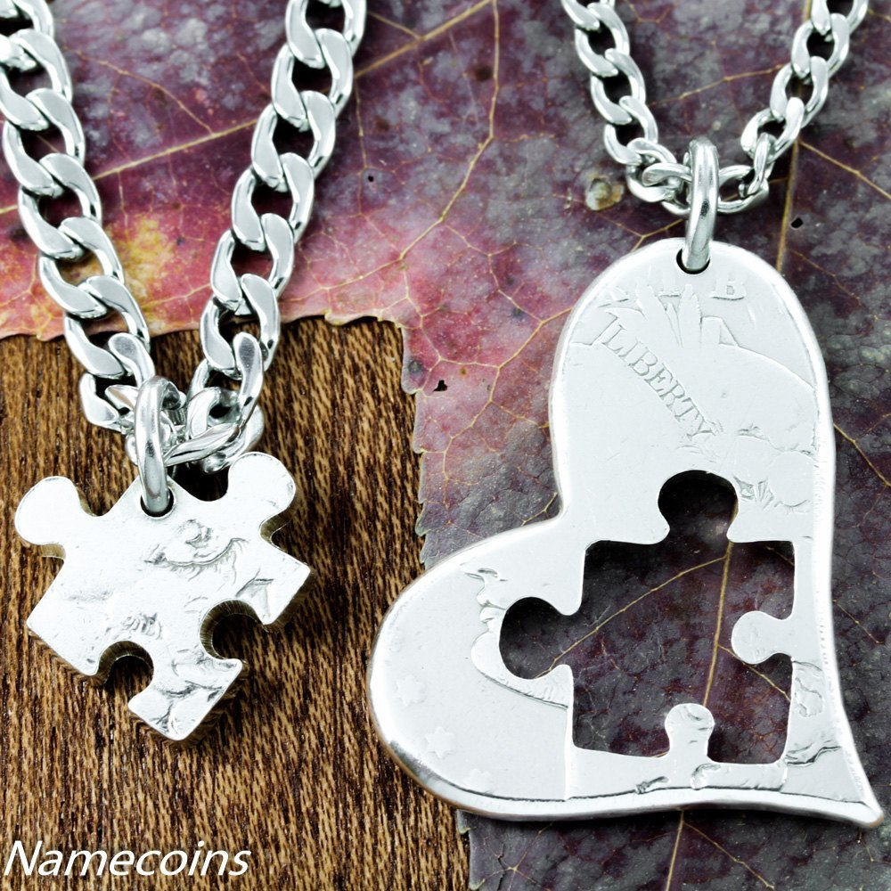 Puzzle Pieces - Puzzle Piece Necklace Heart, Half Dollar, Hand Cut Coin