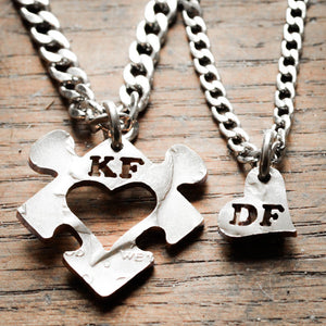 Puzzle piece necklaces, heart and initial jewelry