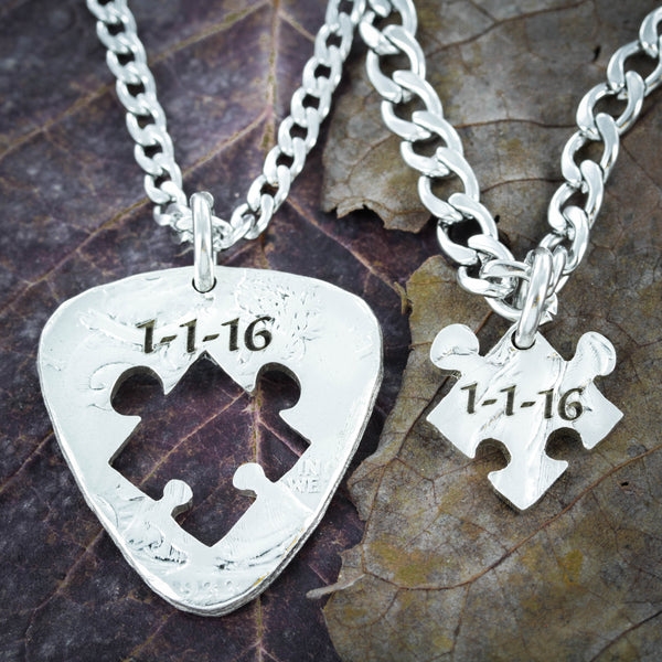 Guitar and Puzzle Piece Couples Necklaces, Wedding date Engraved