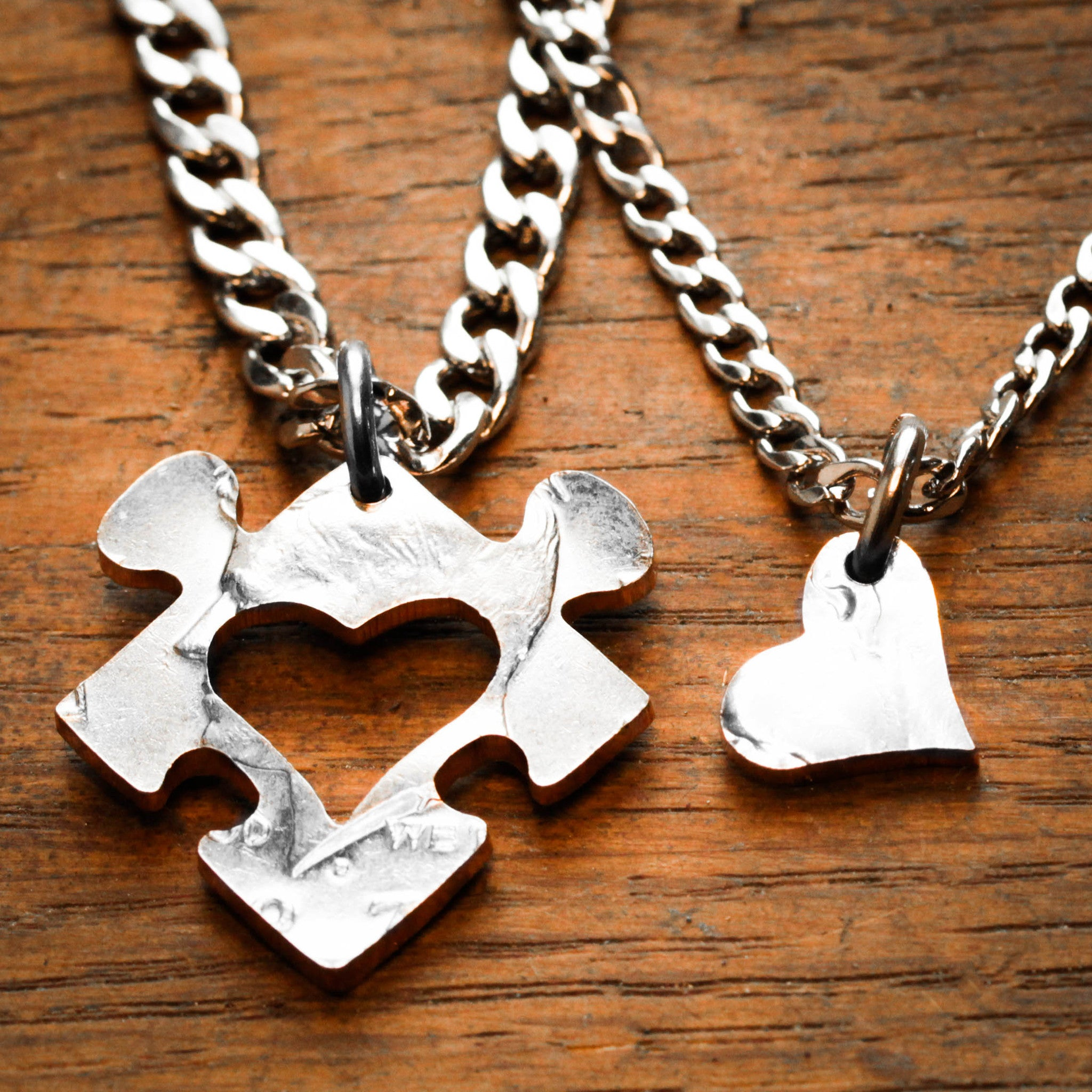 762a0b3859287 Heart Puzzle Piece with Initials Couples Necklaces, Custom cut ...