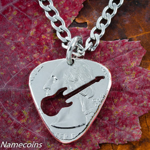 Quarter Guitar Pick Necklace