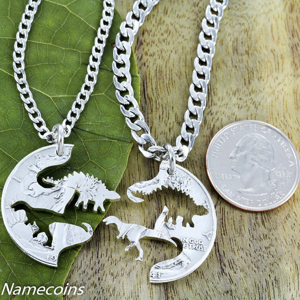 Raptor And Stegosaurus Dinosaur Necklaces For Best Friends, Hand Cut On A Quarter