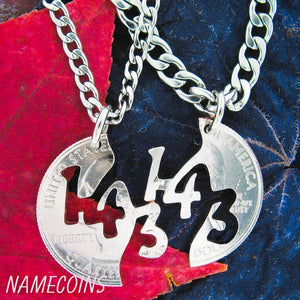 Relationship Necklaces - 143, I Love You, Interlocking Necklace