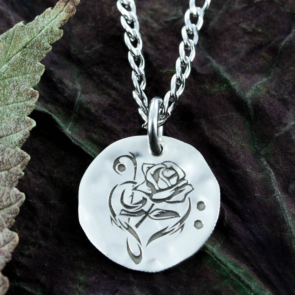 Rose and Music Note Silver Necklace, engraved by Namecoins