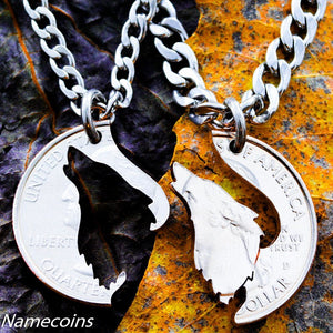 Silver Wolf Necklaces - Customized Howling Wolf Necklace, His And Hers Matching Initials Couples Jewelry, Hand Cut Coin