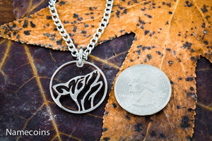 Silver Wolf Necklaces - Howling Tribal Wolf Necklace, Hand Cut Quarter