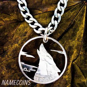Silver Wolf Necklaces - Howling Wolf Necklace With Clouds, Hand Cut Quarter