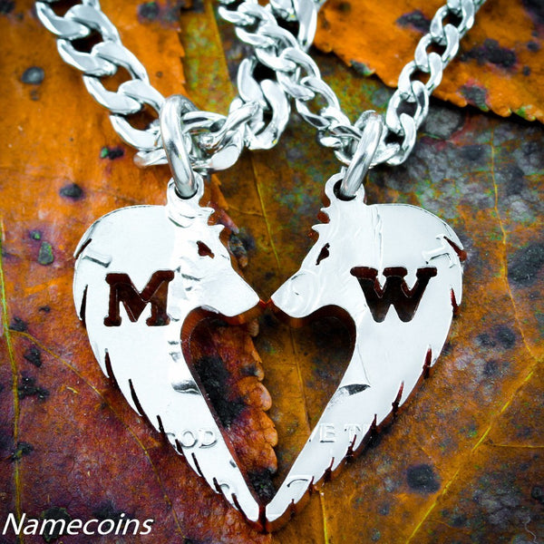 Silver Wolf Necklaces - Wolf Heart Couples Necklaces With Custom Initials