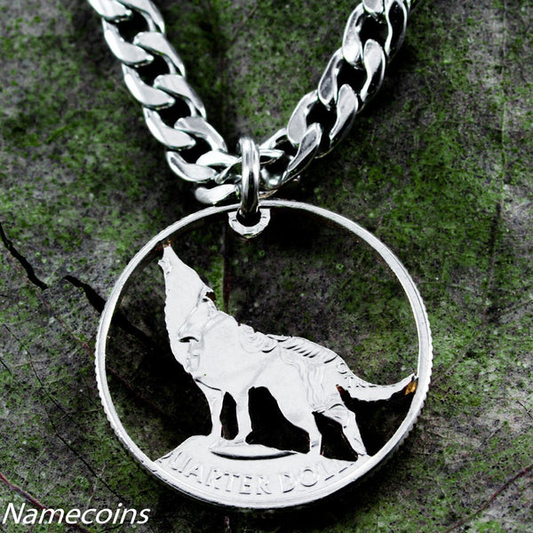 Silver Wolf Necklaces - Wolf Jewelry, Howling, Hand Cut Coin, Quarter