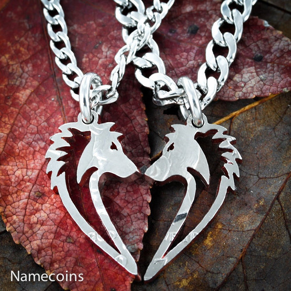 Silver Wolf Necklaces - Wolf Necklaces, Couples Wolves Hand Cut Coin